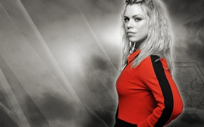 Picture girl, actress, blonde, black and white, singer, Doctor Who, cute, Doctor Who, Billie Piper, Rose ...