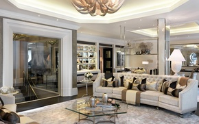 Picture design, sofa, pillow, chandelier, table, living room