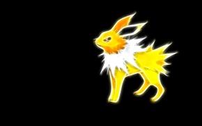 Picture yellow, electric, pokemon, pokemon, jolteon, neon lines, jolteon