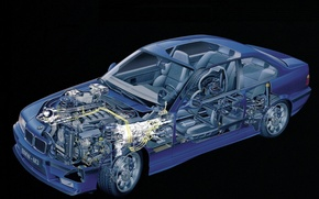 Picture background, engine, salon, BMW M3 Coupe