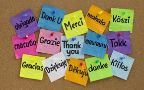 Picture button, Board, colorful, stickers, many, languages, thank you, Thank you