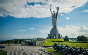 Picture the sky, clouds, trees, Ukraine, Kiev, Motherland, statue, National Museum of history of Ukraine during …