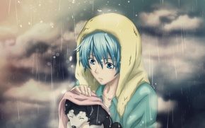 Picture sadness, rain, mood, dog, anime, puppy, guy, care