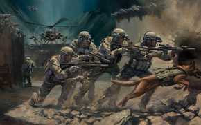 Picture weapons, dog, art, helicopter, soldiers, capture, equipment, operation, special forces, assault rifles
