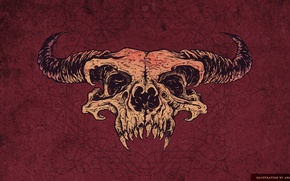 Picture figure, skull, horns, red background