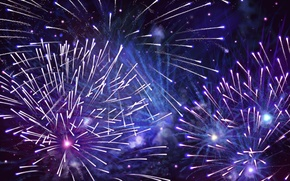 Wallpaper fireworks, sparks, blue, purple