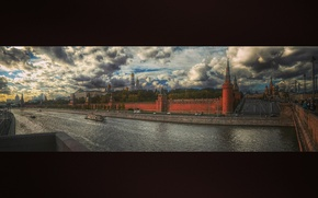 Picture road, the sky, Autumn, panorama, Moscow, Red square, boats, the Moscow river