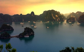 Picture Vietnam, sunset, Bay, Halong, mountains, ship, boats