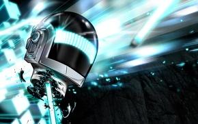 Picture helmet, Daft Punk, fluorescent lamp