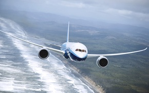 Picture Sea, The plane, Earth, Boeing, Boeing, 737, In The Air, Flies, Airliner