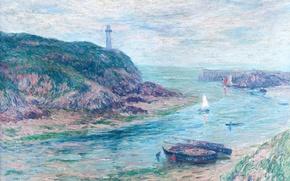 Picture sea, landscape, rock, boat, lighthouse, picture, tide, Bay, sail, Henri Moret, Clohars-Carnoët