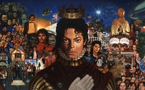 Wallpaper collage, figure, star, crown, art, Michael Jackson, celebrity, glove, singer, Michael Jackson, dancer
