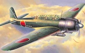 Wallpaper artwork, aviation, ww2, painting, Nakajima B6N1 Carrier Attack Bomber Tenjan (Jill) Type 11, airplane, art, ...
