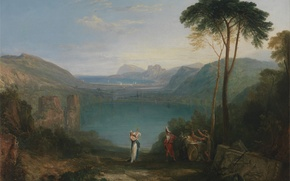 Wallpaper trees, landscape, mountains, lake, picture, myth, William Turner, Lake Avernus - Aeneas and the Cumaean ...