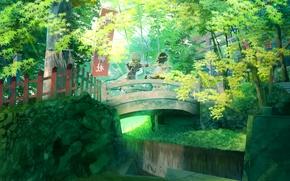 Picture forest, bridge, nature, Anime