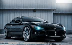 Picture black, tuning, the building, sports car, maserati, gran turismo, drives, tuning, Maserati, the front, Gran …