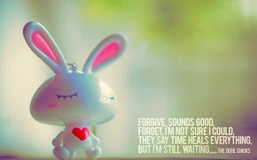 Picture mood, the inscription, heart, Bunny, quote, figure