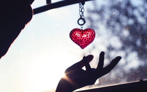 Picture heart, hand, keychain