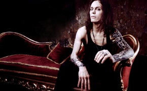 Picture HIM, Ville Valo, sofa, tattoos
