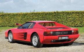 Picture machine, Ferrari, rear view, Testarossa