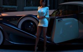 Wallpaper dress, auto, girl, kelly, the evening, street, car, rendering, beauty