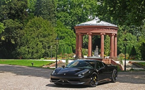 Picture trees, black, lights, statue, ferrari, Ferrari, black, front view, Italy, 458 italia