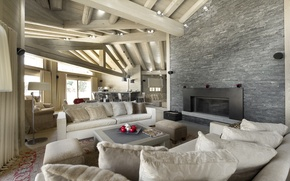 Picture table, interior, chairs, fireplace, sofas