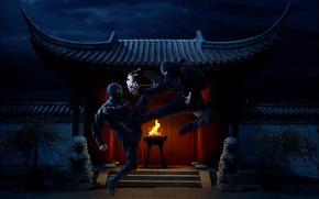 Picture night, fire, temple, Ninja