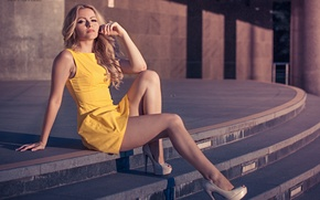 Picture girl, pose, sweetheart, shadow, dress, blonde, shoes, heels, light, steps, legs, sexy, beautiful, sitting, yellow, …