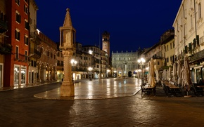 Picture night, lights, home, area, Italy, Verona