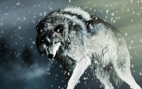 Wallpaper snow, rendering, wolf
