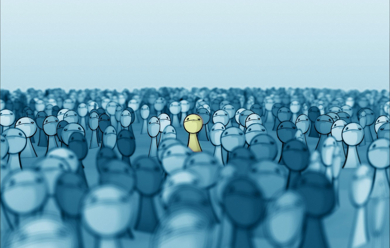 Photo wallpaper yellow, the crowd, face, deviantart, stands out, Face In The Crowd, smashmethod