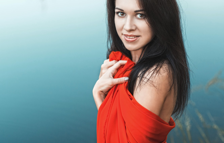 Photo wallpaper water, girl, lake, red, dress, shoulder, keeps