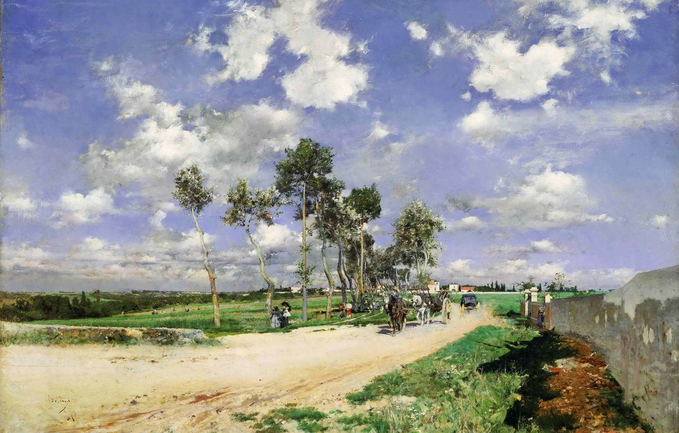 Photo wallpaper road, forest, the sky, grass, clouds, trees, landscape, people, horse, picture, horizon, wagon, Giovanni Boldini