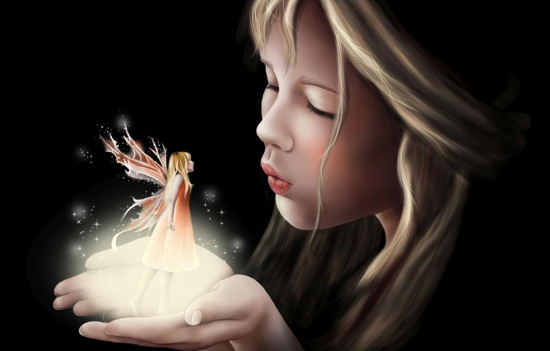 Photo wallpaper fantasy, wings, tale, art, girl, fake