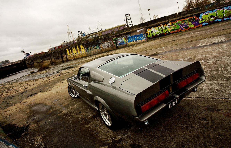 Photo wallpaper Ford, Shelby, Eleanor, GT 500, Back, Silver, Cloud, Pier