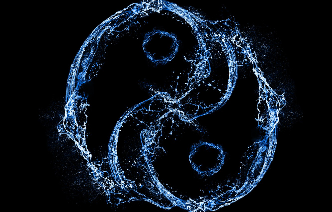 Photo wallpaper water, squirt, style, Yin and Yang