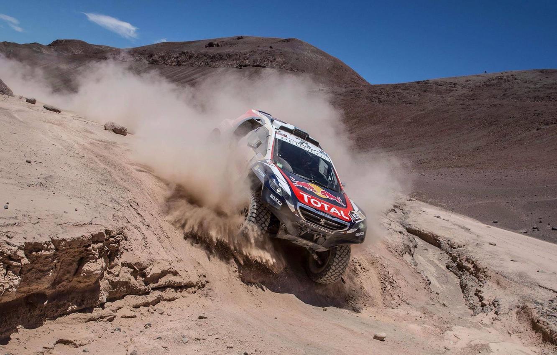 Photo wallpaper mountains, dust, 2008, Peugeot, Rally, Dakar, DKR, baggy