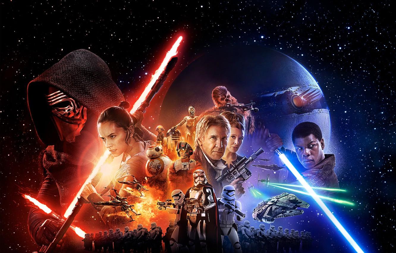 Photo wallpaper star wars, attack, star wars, Han solo, Harrison Ford, R2-D2, Finn, Finn, Princess Leia, Kylo …