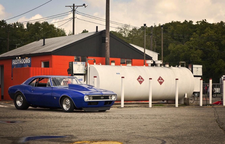Photo wallpaper blue, Chevrolet, Chevrolet, muscle car, camaro, blue, Camaro, dragster