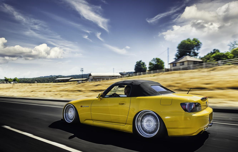 Photo wallpaper road, Honda, in motion, Honda, yellow, s2000