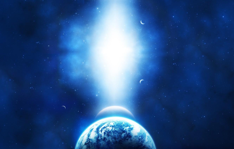 Photo wallpaper light, blue, planet, sci fi