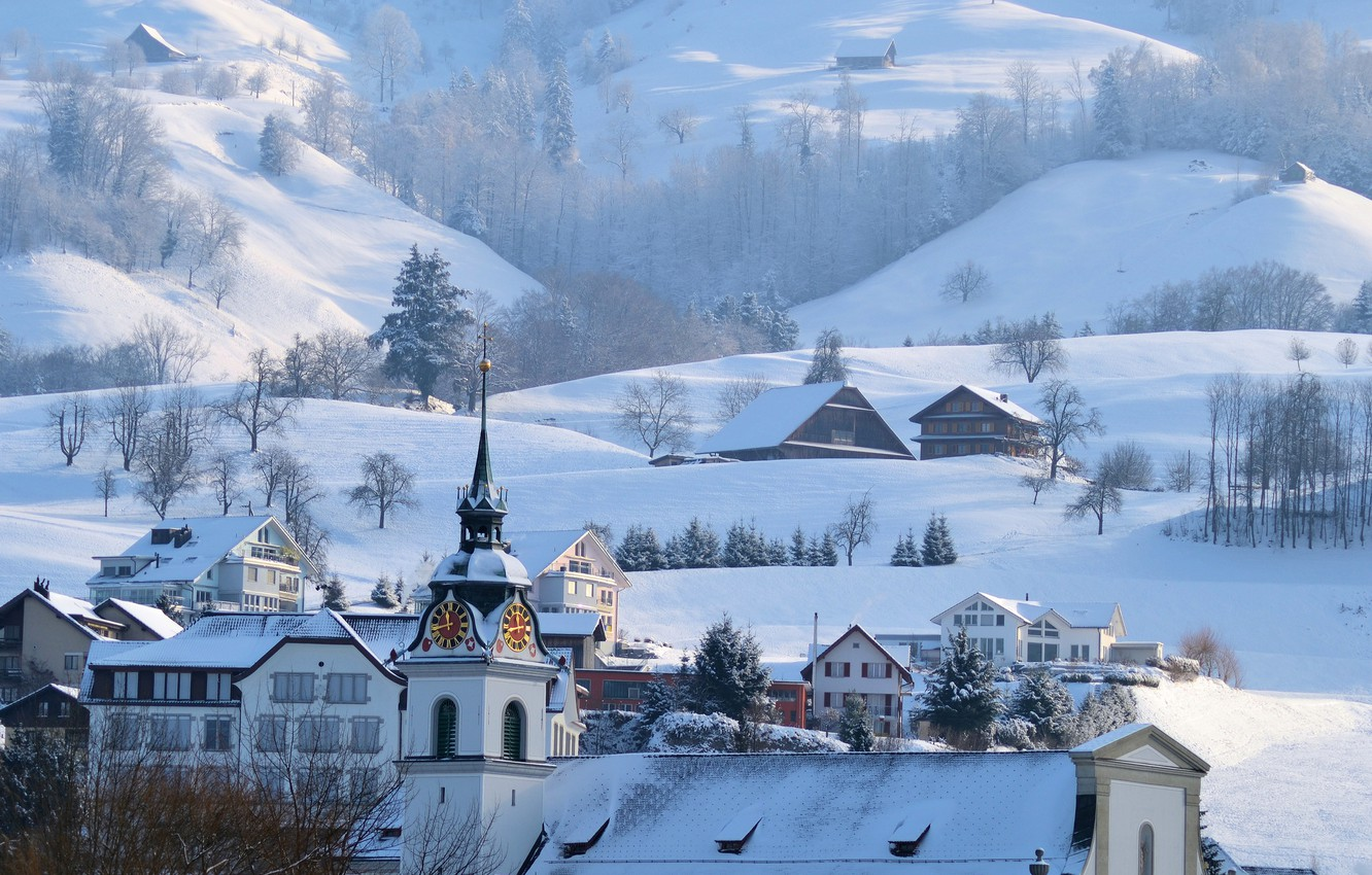 Photo wallpaper winter, snow, mountains, home, town, Alps, town hall