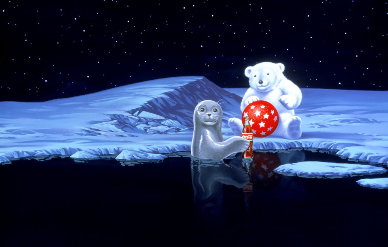 Wallpaper Water Stars Snow Red The Ball Seal Bear Coca Cola