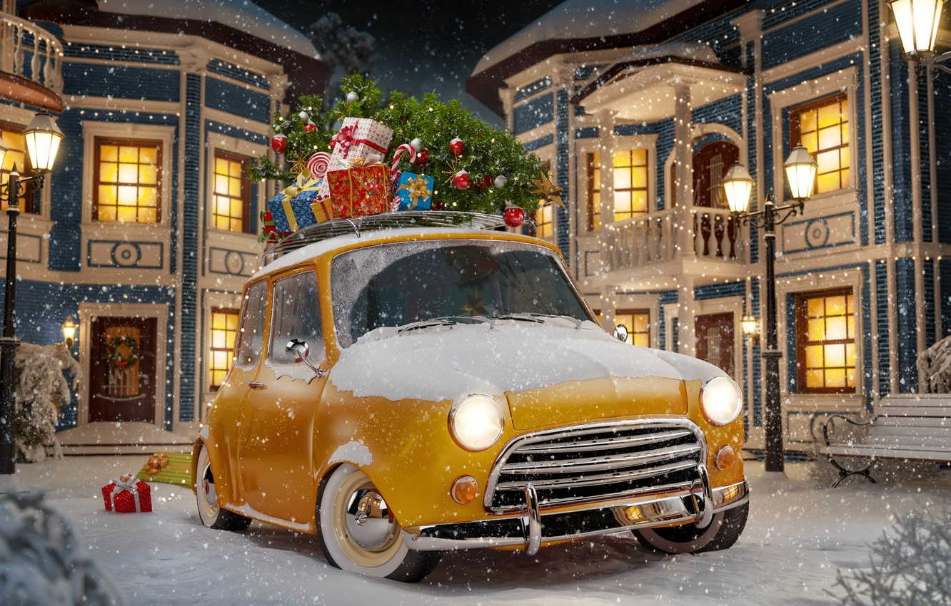 Photo wallpaper winter, auto, snow, snowflakes, yellow, abstraction, retro, background, lights, toys, tree, art, gifts, Parking, Parking, …