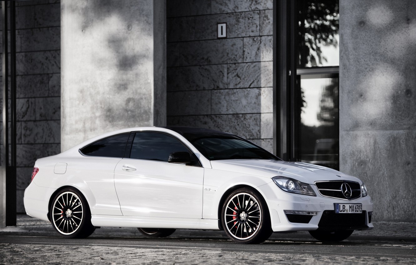 Photo wallpaper white, the building, Mercedes, white, Mercedes, amg, AMG, C63, building