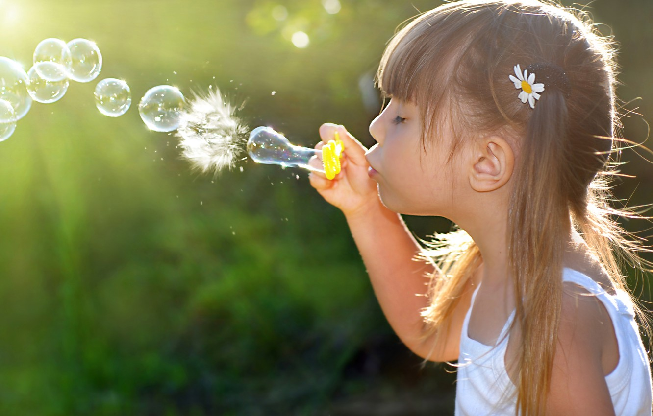 Wallpaper Joy Happiness Children Childhood Child Girl Bubbles
