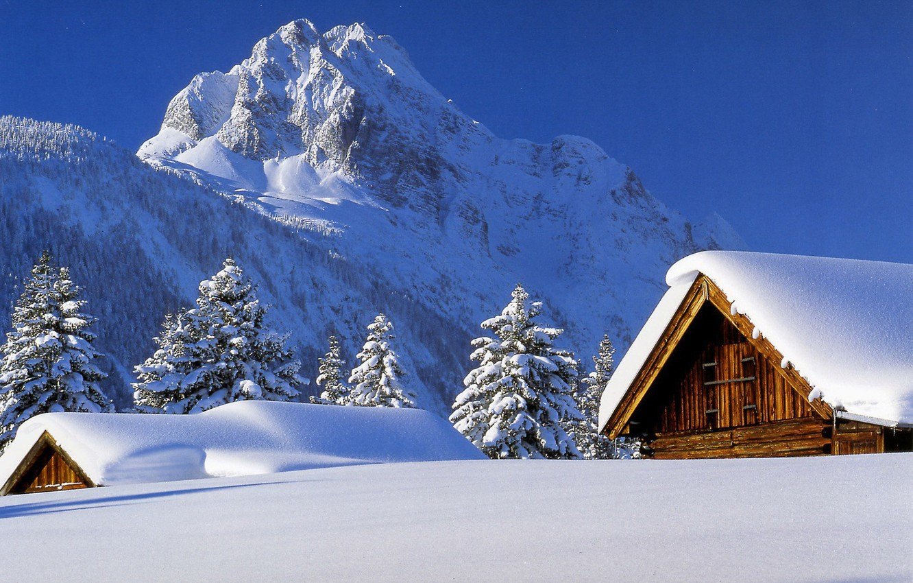 Photo wallpaper winter, snow, Mountains, roof, houses