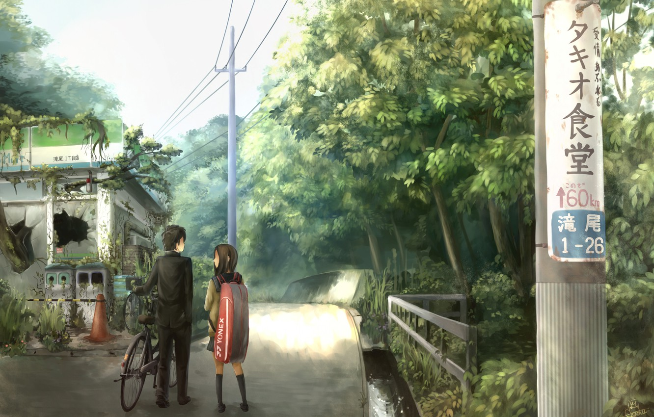Photo wallpaper road, Japan, silhouette, the ruins, characters, students, Bicycle silhouette