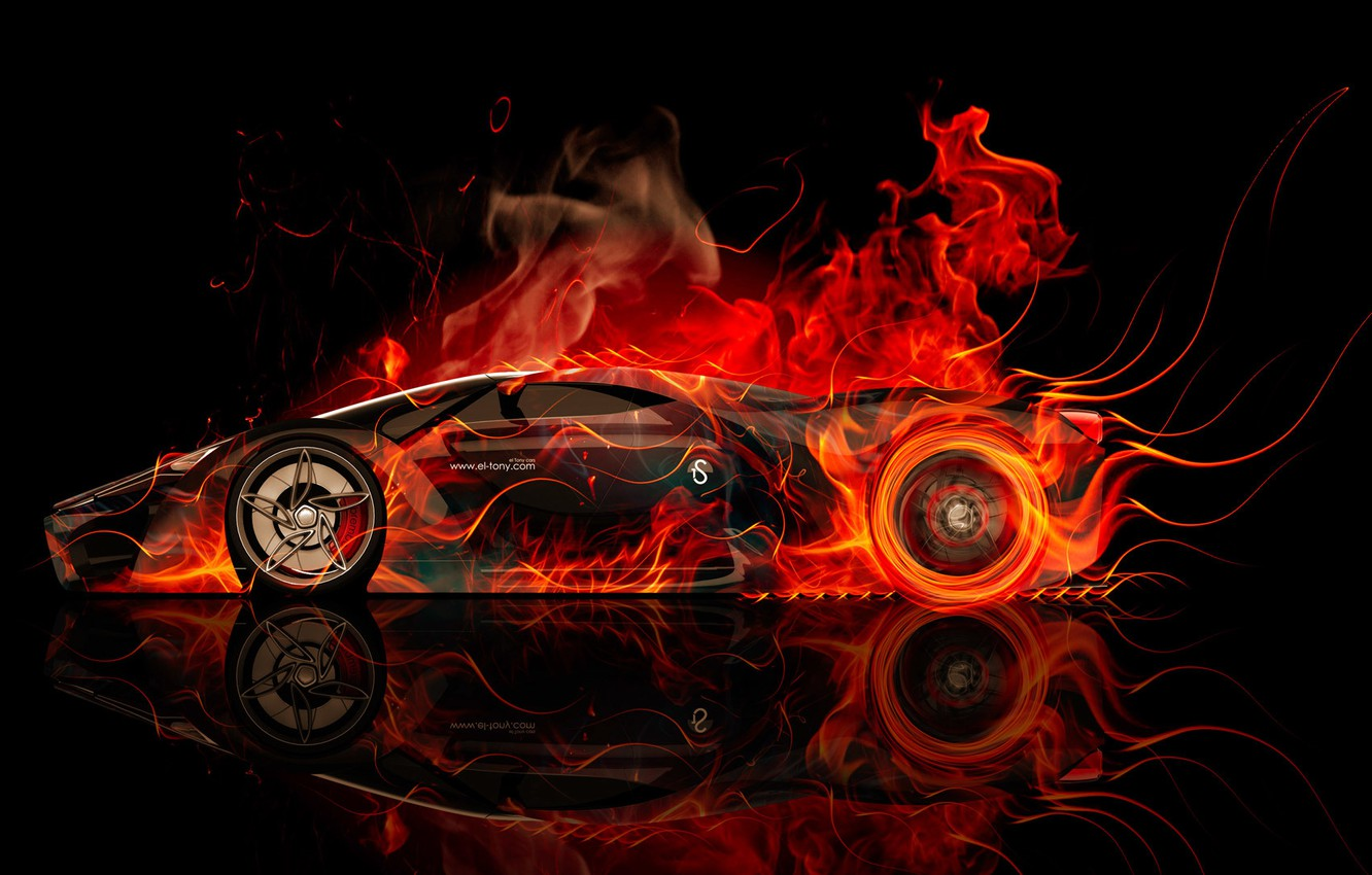 Photo wallpaper Concept, Auto, Black, Smoke, Fire, Machine, Ferrari, The concept, Style, Wallpaper, Background, Ferrari, Orange, Ferrari, ...